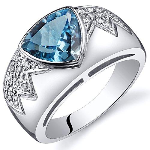 Swiss Blue Topaz Museum Ring Sterling Silver Rhodium Nickel Finish Trillion Cut 2.00 Carats Size 6