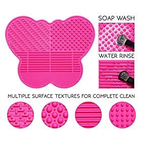 LA FERRA   Best Makeup Brush Cleaner Tool For Cleaning Washing Rinsing and Preserving Professional Cosmetic Brushes   Portable Size Silicone Cleaning Mat for Travel Use   7 x 5.5 Inches   Butterfly