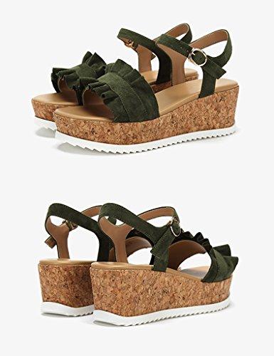 Unita Shoes Summer Word Sandali Toe Shoes Colore Con dimensioni Verde ZCJB Casual Band Tinta 36 Open Nero Platform q0RHpw7n
