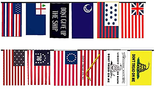 AES Early American Historical Historic 12x18 Bunting String Flag Banner (12 Flags) Super Polyester Nylon Fade Resistant Double Stitched Premium Penant House -