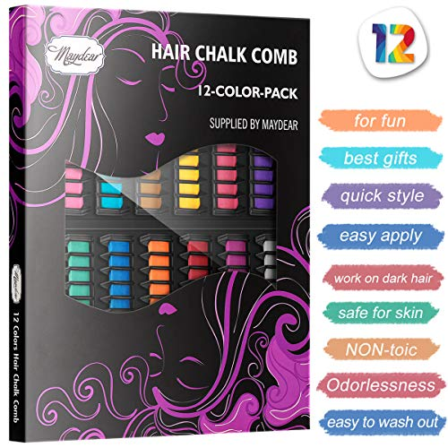 Maydear Temporary Hair Chalk Comb-Non Toxic Washable Hair