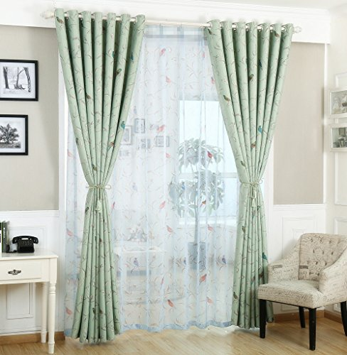 Window Delicate Decorative (AliFish 1 Panel Birds Pattern Decorative Sheer Curtains Rod Pocket Kids Bedroom Window Treatment Room Divider Curtains Delicate Sheer Gauze Drapes Voile Curtains for Living Room W52 x L84 inch)