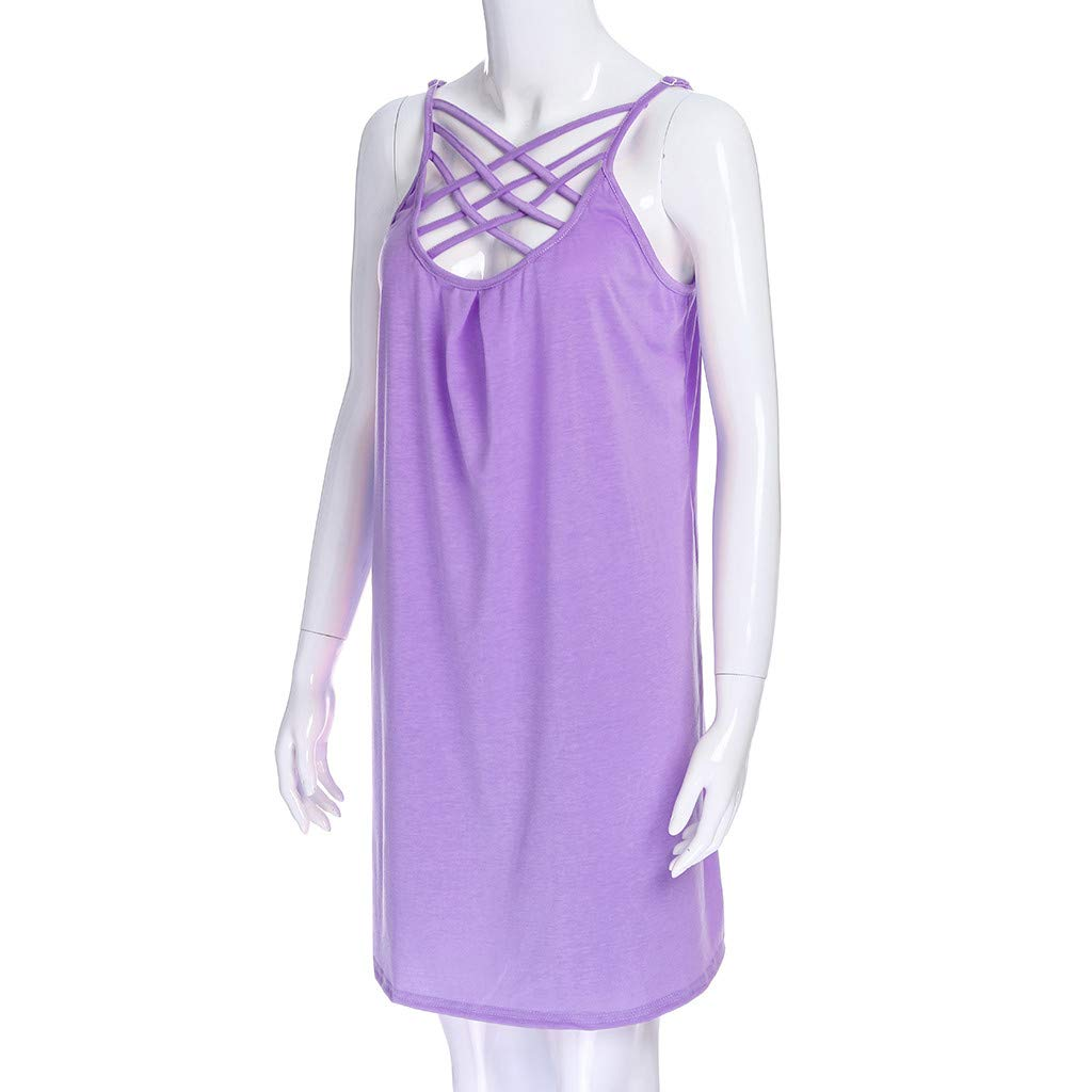 Women's Summer Spaghetti Straps Swing Tshirt Dress Casual Hollowed Out Sleeveless Solid Tank Beach Dresses (S,Purple) by Sinohomie (Image #4)