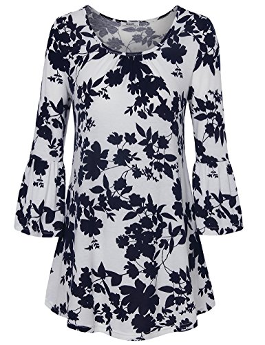 Bell Sleeves Tunic (Youtalia Printed Tunics for Women, Ladies Scoop Neck Printed Flutter 3/4 Sleeve Flared Hem Casual Tunic T Shirt Navy and White X-Large)