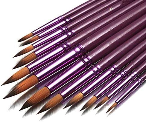 画筆セット ブラシアーティストナイロンヘア水彩オイルドローイングペンアーティストがセットペイント絵画個入りフラットチップラウンドヒント 幅広い用途と良い感触 (色 : 紫の, Size : 1)