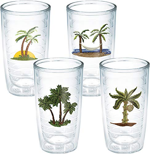 Tervis Tumbler, Palm Ok 3 Palms Ast (Set of 4), 16 oz, Clear - 1036939