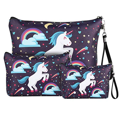 Unicorn Makeup Bag Organizer PU Pencil Pouch Zipper Toiletry Wash Bag Portable Cosmetic Bags Travel Brush Storage Case for Women Purse,Set of 3,Purple (Unicorn Purple)