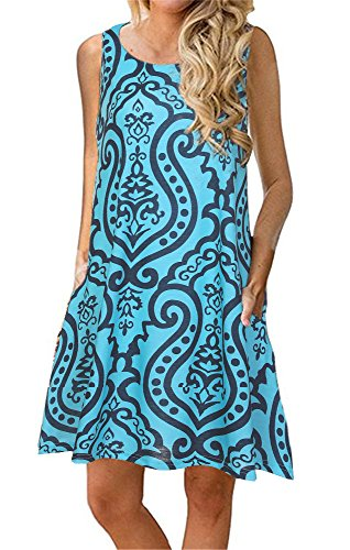 Summer Beach Dresses for Women Tshirt Sundresses Boho Casual Sleeveless Floral Shift Pockets Swing Loose Damask Blue Green Large