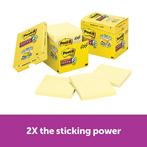 Post-it Super Sticky Notes, 2x Sticking Power, 4 x 4-Inches, Canary Yellow, Lined, 12-Pads/Pack