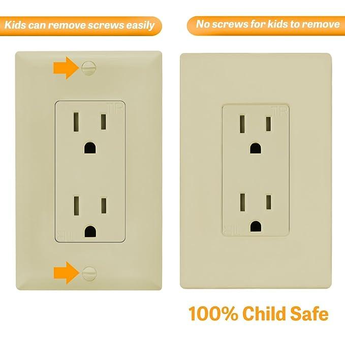 Decoración de sin tornillos placa de pared por Enerlites si8831-i niño seguro obturador para Rocker GFCI temporizador regulador interruptores de luz, ...