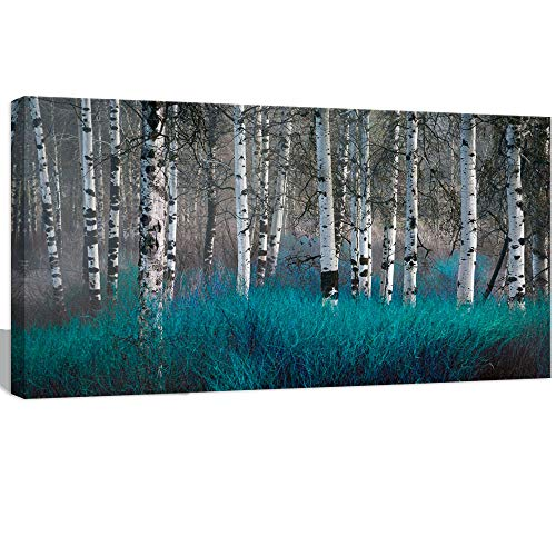 Visual Art Decor Turquoise Wall Decor Birch Trees Autumn Forest Canvas Prints Nature Scenery Picture Framed Painting Decoration for Modern Living Room Bedroom ()
