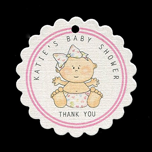 Baby Shower Favor Tags, Baby Girl with Heart Diaper, Personalized (set of 25) (Diaper Cookie)