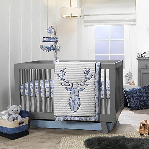 Lambs & Ivy Blue Camo Gray Moose 4-Piece Baby Crib Bedding Set - Camouflage