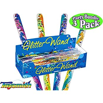 6 Inches 6 Pack Complete Gift Set Party Bundle Mattys Toy Stop Deluxe Mini Spiral Glitter Wands