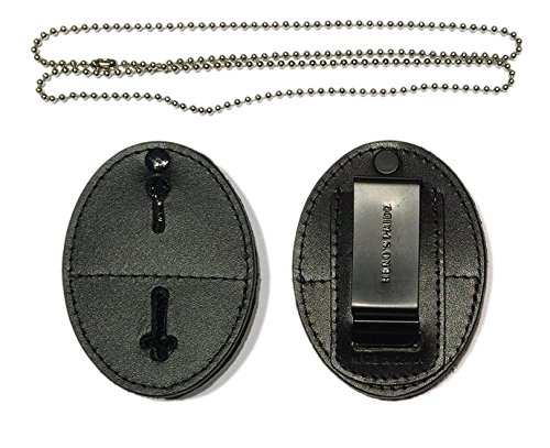 Hero's Pride Universal Shield Leather Badge Holder with Free Neck Chain ()