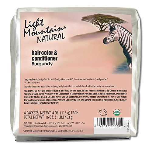 Light Mountain Natural Bulk Hair Color and Conditioner, Burgundy, 16 Ounce