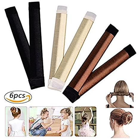 Beauty Donut Hair Bun Maker Magic Bun French Twist Doughnuts with Hair Donut Bun Ring Styler Maker Brown Hair Band Accessories For Women Girls (6pcs) Suces