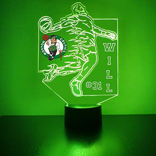 Lamp Celtics (Mirror Magic Store Celtics Basketball Player LED Night Light with Free Personalization - Night Lamp - Table Lamp - Featuring Licensed Decal)