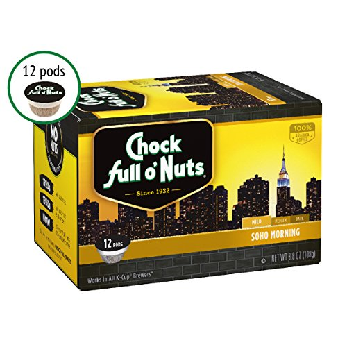 Chock Full o'Nuts Single Serve Coffee Pods, Soho Morning Mild Roast Breakfast Blend – Premium Arabica Coffee – Compatible with Keurig K-Cup Brewers (12 Count)