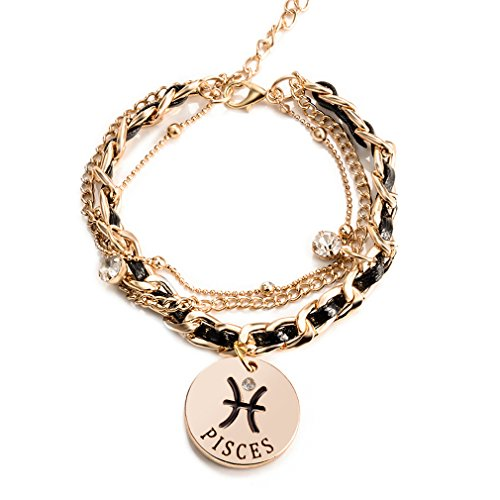 Jewelry Womens Link Bracelet, Constellation Zodiac Sign Logo Charms, Adjustable Size (Logo Gold Charm)