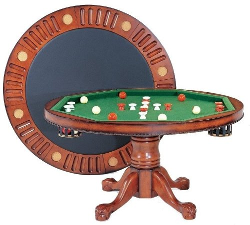 "Berner Billiards 3 in 1 Game Table - Round 54"" Bumper Pool, Poker & Dining in Antique Walnut"