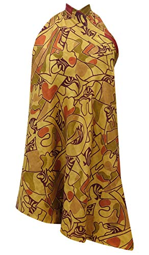 (Indianbeautifulart Abstract Print Reversible Maxi Pure Silk Women Nightwear Wrap Dress)