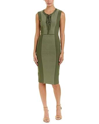 8a2de69ffca BCBGMAXAZRIA Women's Safari Fitted Dress Earth Green Combo X-Small