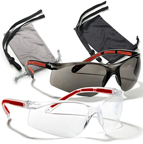 Safety Glasses Eye Protection 2 Pair (Clear & Smoke)+2 Cases+2 Neck Cords, Rubber Temples, Scratch Resistant Lenses. Z87 & CE 166 Certified. Your Satisfaction is Guaranteed. Add to Cart Now!