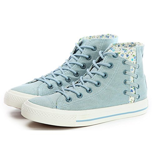 Smiry Moda Para Mujer Casual Lace Up Zapatos Plataforma Plana High Top Sneaker Canvas Zapatos Florales