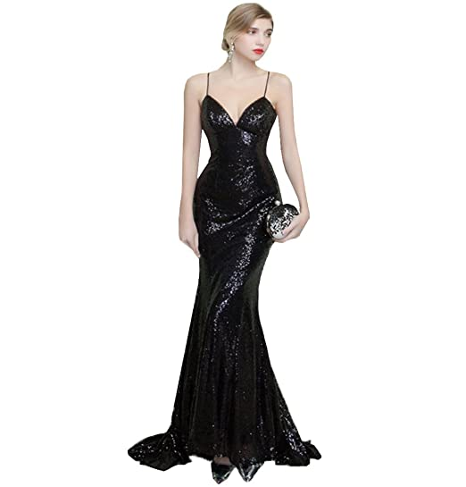 JinXuanYa Womens Womens Mermaid Sequined Formal Evening Dress for Wedding Prom Gown(UK2, ...