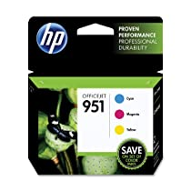 HP 951 Cyan, Magenta & Yellow Officejet Ink Cartridges, 3 pack (CR314FN)