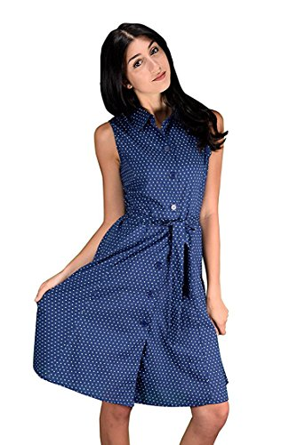 Peach Couture Women's Vintage Retro Button Up Party Shift Dress with Belt Nautical Navy