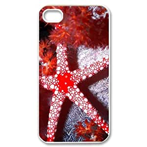 Red Starfish For HTC One M7 Case Cover , [White]