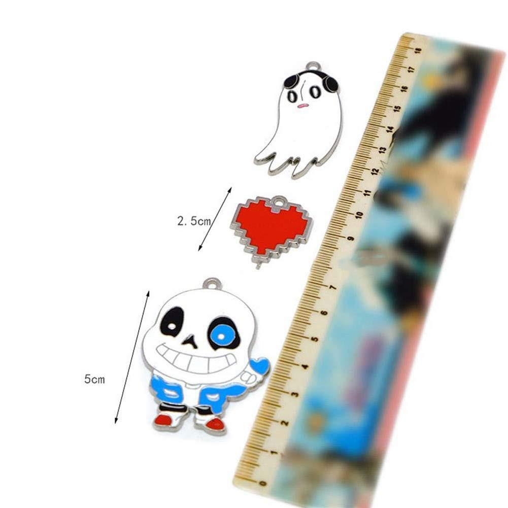 HLZG Undertale Sans Necklace Set Anime Cosplay Collection Necklace Pendant Keychain Costume Suit