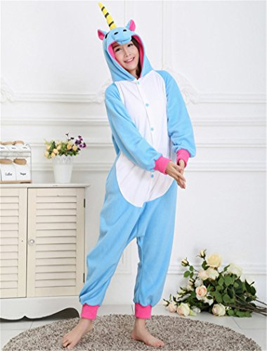 MH-RITA 2017 UNISEX ADULTO Inverno Unicorn animale pigiama pigiama imposta temperamento incappucciati - Homewear di flanella femmina Sleepwear Cartoon carino pigiama blue S