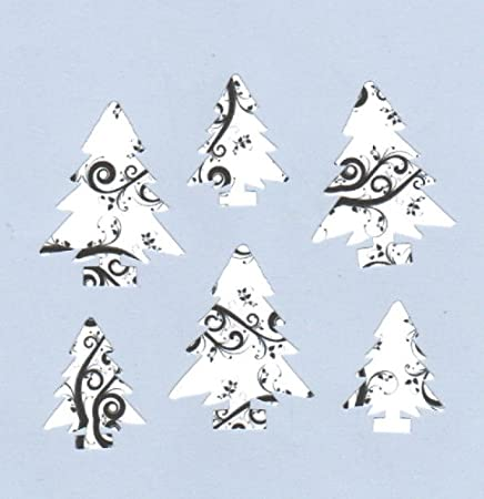 Christmas Toppers For Card Making.24 Black White Christmas Trees Embellishments Die Cut Card