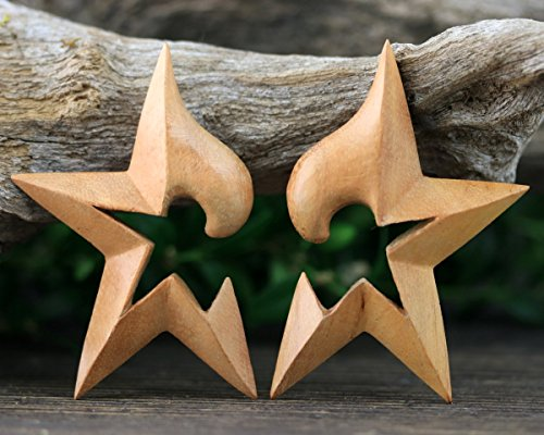 16mm Gauge Hand Carved Exotic Wood Earring Star Pair 5/8