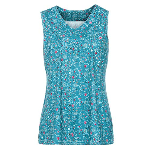 TnaIolral Women Blouse V-Neck Summer Loose Floral Printed Tops T-Shirt Blouse Sky Blue by TnaIolral (Image #2)