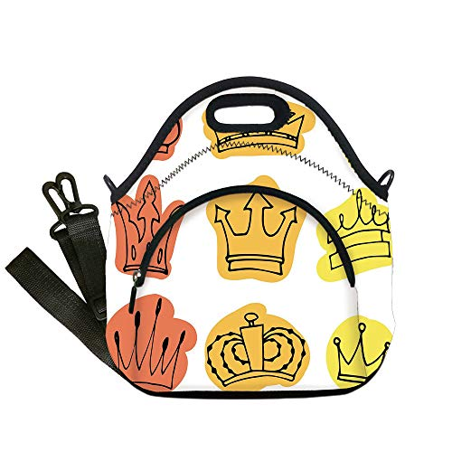 Insulated Lunch Bag,Neoprene Lunch Tote Bags,King,Sketchy Watercolor Seemed Print Tiaras Crowns Coronet Majestic Symbols Decorative,Orange Yellow and Salmon,for Adults and children