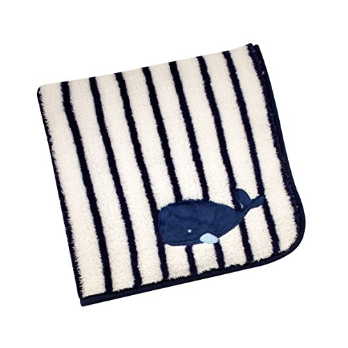 (Nautica - Whale of a Tale - Baby Blanket Appliqued Coral Fleece)