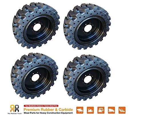 Rio Skid Steer Solid Tires & Rim x4 -No Flat 12x16.5 John Deere Volvo 33x12-20 from Rio Rubber Track
