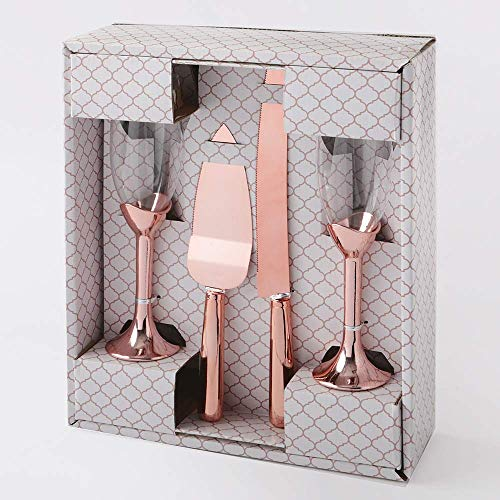 Elegant Toasting Glasses With Cake Knife And Server 4 Piece Set - Perfect For A Wedding, Engagement, Anniversary, Valentine's Day Gift, Or Special Birthday Parties (Rose Gold)]()