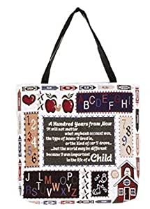 """Set of 2 Teacher Classroom Theme Decorative Tapestry Shopping Tote Bags 17"""""""