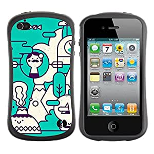 "Pulsar iFace Series Tpu silicona Carcasa Funda Case para Apple iPhone 4 / iPhone 4S , Arte Teal blanco Futurista"""
