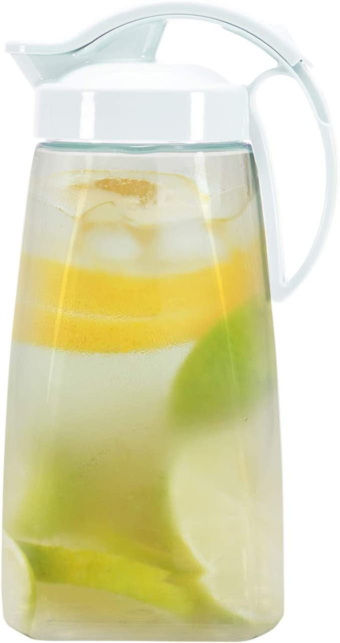 Quickpour Airtight Pitcher With Locking Spout Japanese Made For Water Coffee Tea Other Beverages 2 3 Quarts Clear With White Top Carafes Pitchers Amazon Com