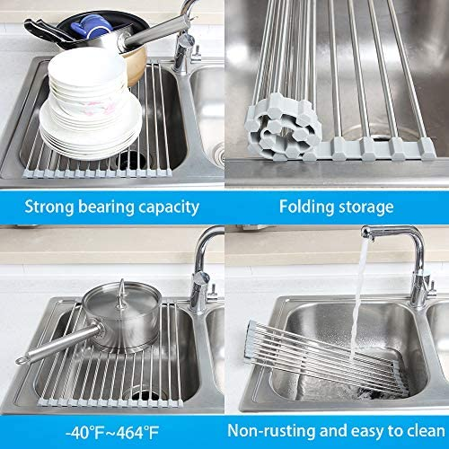 17.7″ x 11.5″ Long Dish Drying Rack, Attom Tech Home Roll Up Dish Racks Multipurpose Foldable Stainless Steel Over Sink Kitchen Drainer Rack for Cups Fruits Vegetables 51 2B7y4bVd 2BL