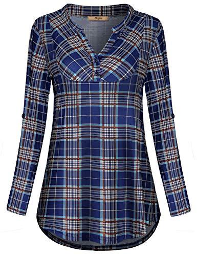 Miusey Womens Mandarin Collar Plaid Roll Sleeve V Neck Flowy Loose Tunic Blouse