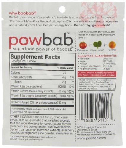 Powbab Baobab Superfruit Chews, 5 Count