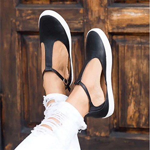 Chaussures Boucle Plates Rond derbys Mocassins Femme Bout Brogues Bateau Noir Sangle ballerines qtR0ftECnw