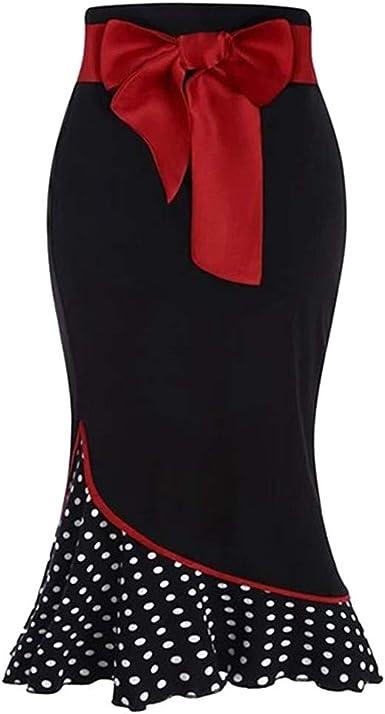 Sylar Falda Flamenca Mujer Faldas Mujer Cortas Verano Estampado De Lunares Faldas Largas Bohemias con Volantes: Amazon.es: Ropa y accesorios